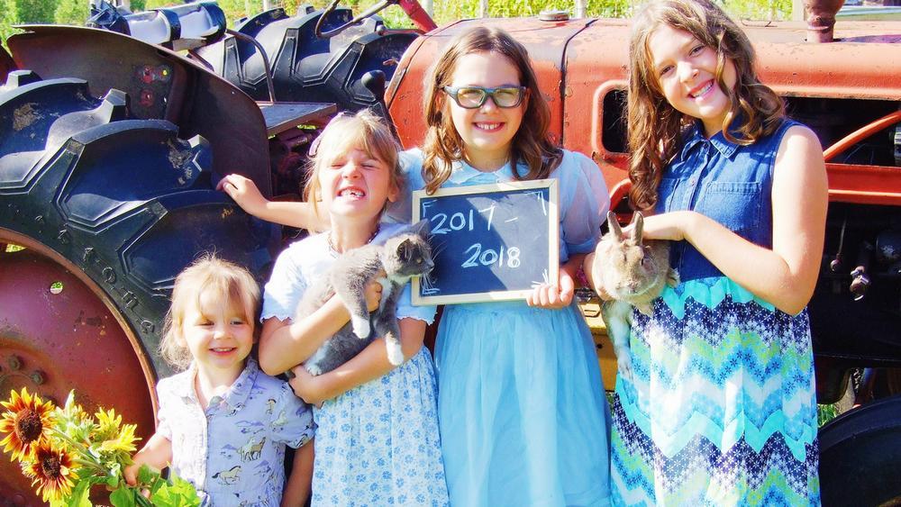 enfants, tracteur, ferme, campagne