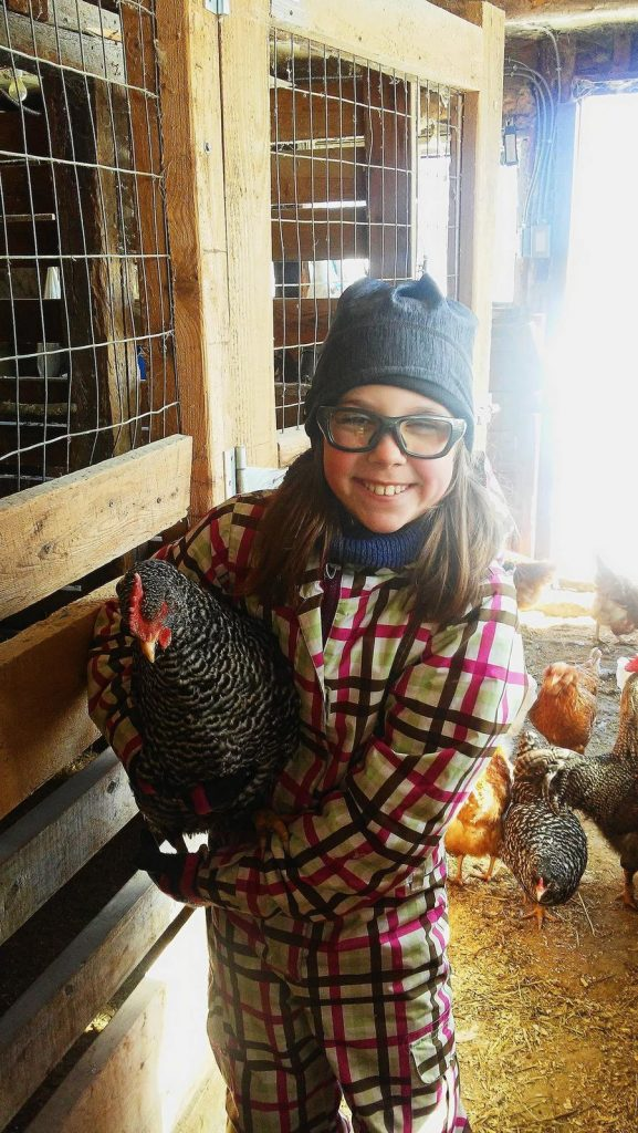 enfant, poule, ferme, homestead