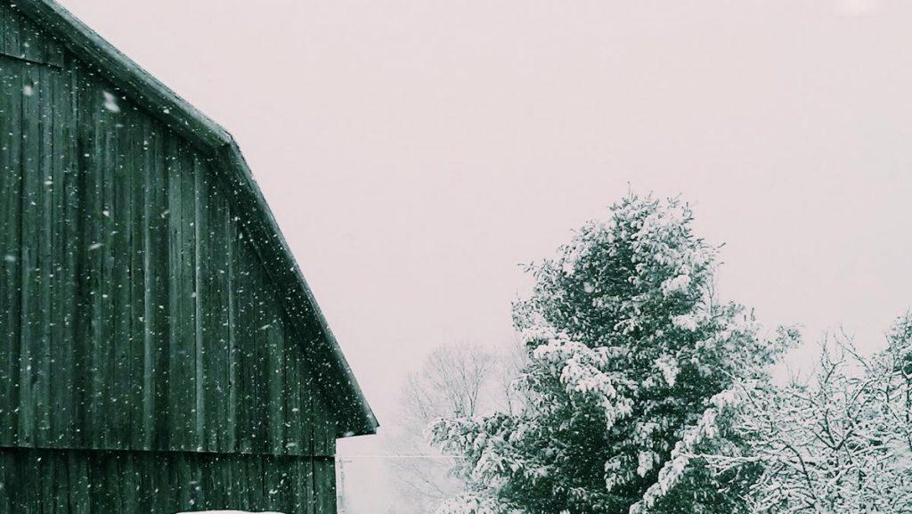 grange, hiver, neige, homestead, ferme
